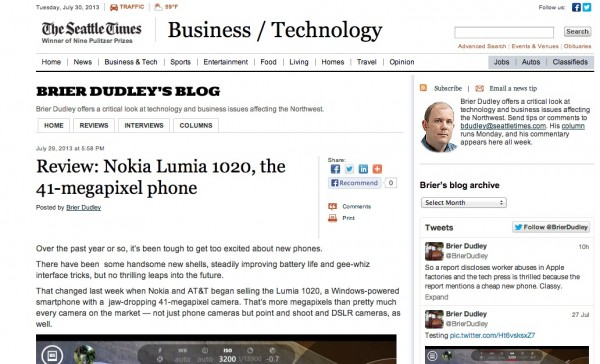 The Seattle Times recenzija Lumia 1020