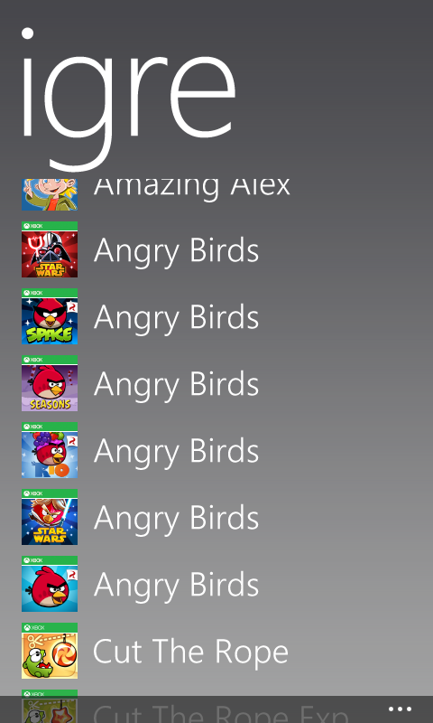 Angry Birds, Amazing Alex(Rovio), Cut The Rope besplatno