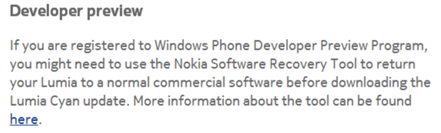microsoft wp81 dev preview roll back