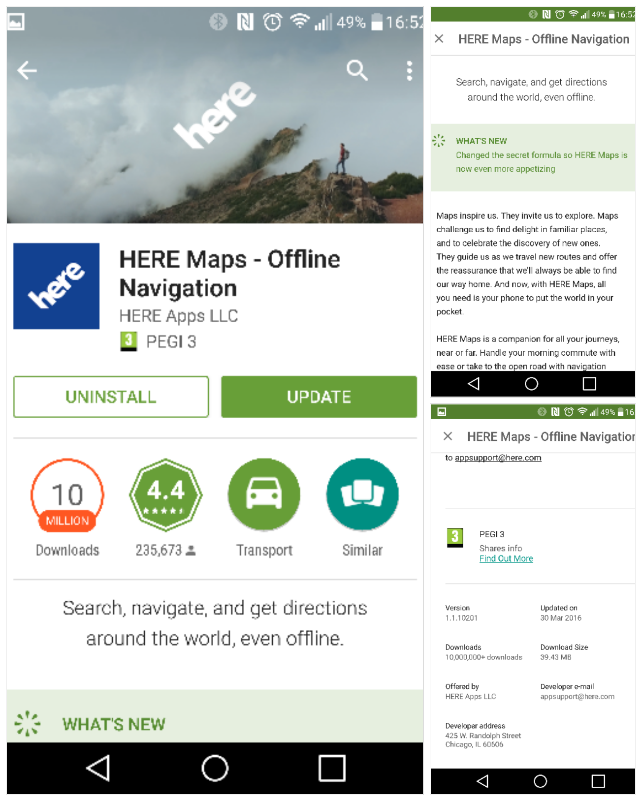here maps android update 10201