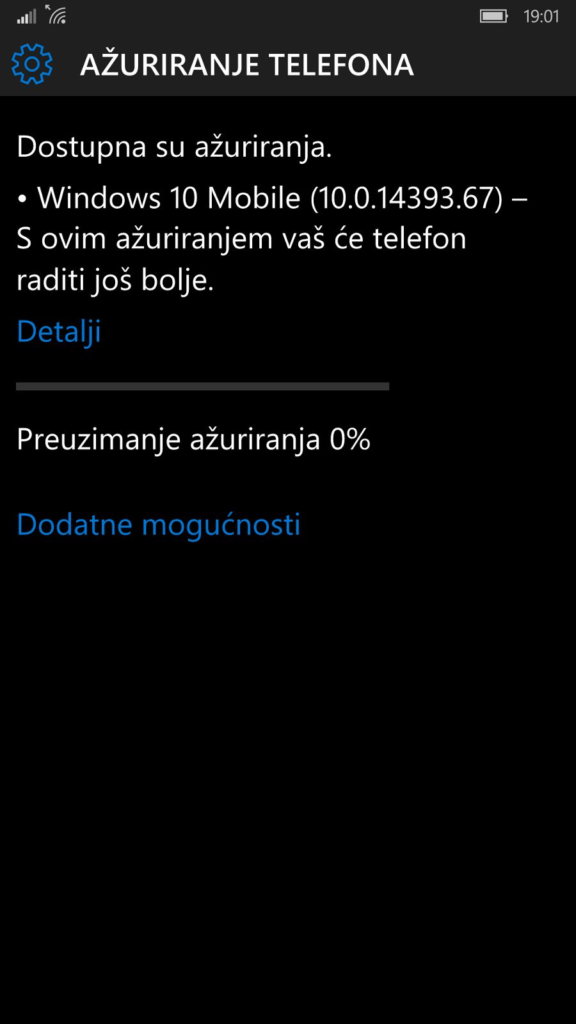 Preuzimanje Windows 10 Mobile nadogradnje na Lumiji 1520